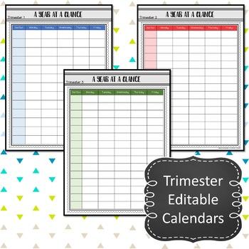 2017-2018 Year At A Glance Editable Calendars