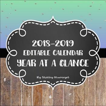 2018-2019 Year At A Glance Editable Calendars
