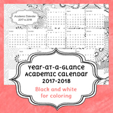 2017-2018 Year-at-a-Glance Coloring Academic Calendar
