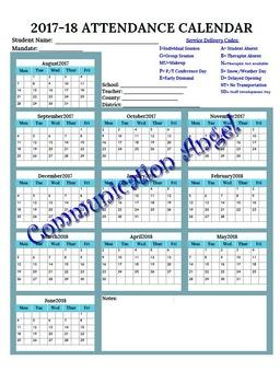 2017-2018 Yearly Therapy Calendar/Attendance (Speech, OT, PT, etc)