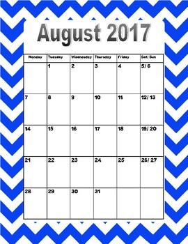 2017-2018 calendar (blue)