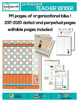 2017-2020 Professional Teacher Organization Binder ... COLOR, B&W, EDITABLE