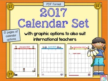 2017 Calendar PDF Format with 15 pages of Calendar Choices