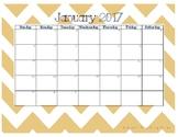2017 Calendar - Gold