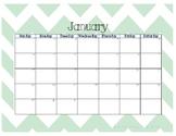 2017 Calendar - Mint