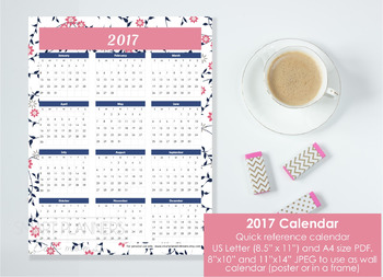 2017 Calendar at a glance. Quick reference. Wall calendar included. Floral.
