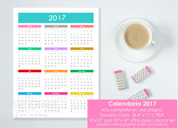 Calendario 2017 Una página - Spanish version calendar. Wall calendar.