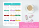Calendario 2017 Una página - Spanish version calendar. Wal