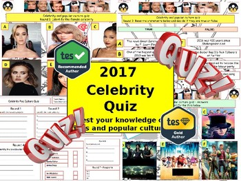 2017 - Celebrity popular Culture (Celeb Quiz) Summer Quiz.