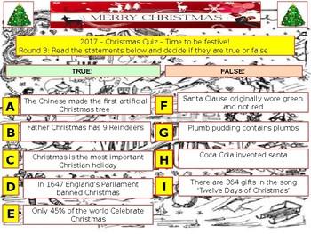 2017 - Christmas Quiz (Fiction, Literacy) - 7 rounds & 40+Qs' .Festive Quiz -
