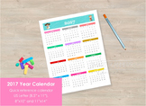 2017 Cute Calendar at a glance, Quick reference. Wall calendar.