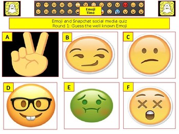 2017 - Emoji and Snapchat Social Media Quiz-  7rounds &40+Qs' Quiz -