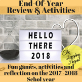 2018- End-of-year review w/ Kahoot quiz, worksheets,& self-reflection activities