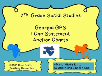 2017 Georgia Grade 7 Social Studies I Can Statement Half Page Posters in Teal