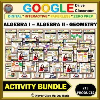Google Drive Activity Bundle: ALGEBRA I , ALGEBRA II, & GEOMETRY