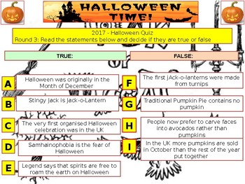 2017 - Halloween Spooky Quiz (Fiction, Literacy) - 7rounds &40+Qs' Quiz -