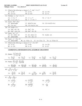 2017 Honors Algebra Final Exam