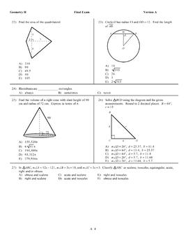 2017 Honors Geometry Final Exam