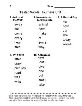 Journeys 2017 - 1st grade Tested Reading Vocabulary