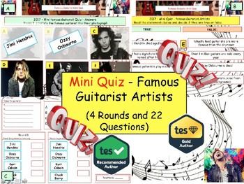 2017 - Famous Guitarists Music Quiz (Music Quiz) - 4 rounds and 25+ Questions