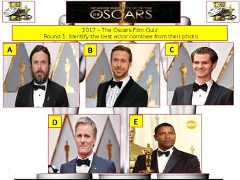 2017 - The Oscars Quiz (Film and Media Quiz) - 7 rounds and 44+Q