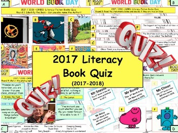 2017 - Mega Children's Literacy Book Quiz . World Book Day. End of term Quiz.