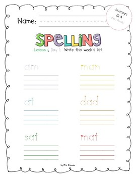 2017 National Journeys First Grade Spelling Practice Sheets/Centers, Unit 1