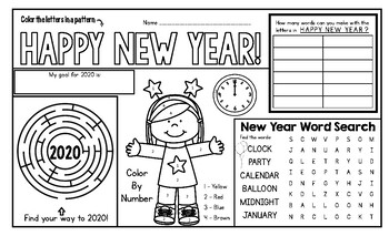 2018 - New Year Activity Mat - A Page FULL Of New Year's Activities!