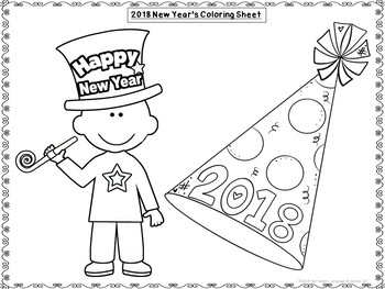 2018 New Year's Freebie! Roll & Color, Seek-n-Find, Door Sign and Coloring Page