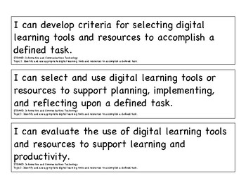 2017 Ohio Learning Standards in Technology 6 - 8 I Can Statements