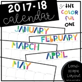 2017-18 Printable Calendar - The Colorful One