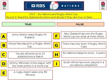 2017 - Rugby Sports Quiz (World Cup & Six Nations) - 7rounds & over 40+Q's