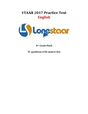 4th Grade STAAR Math 2017 English Benchmark! Free at LessT