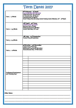 2017 School Calendar  + Term Dates NSW Western Division