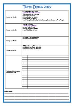 2017 School Calendar  + Term Dates TAS
