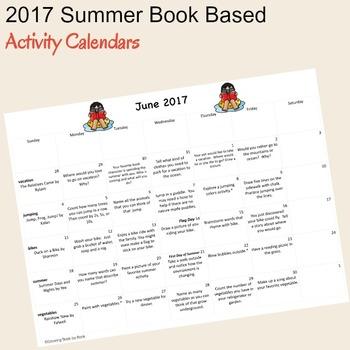 2017 Summer Book Based Activity Calendars
