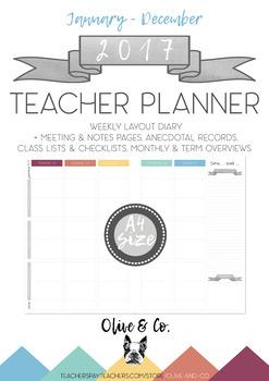 2017 Teacher Diary Weekly Planner A4