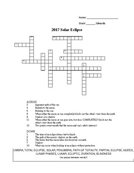2017 Total Eclipse Vocabulary Crossword Puzzle (Key & Word Bank included)