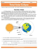 2017 Total Solar Eclipse Worksheet Solar Eclipse Reading Comprehension Activity