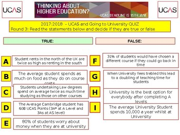 2017 - UCAS QUIZ - Going to University Quiz- 7 rounds and over 40 Questions.