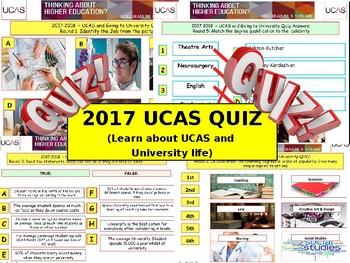 2017 - UCAS QUIZ - Going to University Quiz. World Book Day. End of term Quiz.