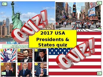 2017 USA - US Presidents and States Quiz - 6 rounds and 40 Questions. Civics