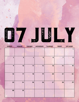 2017 Watercolor Printable Calendar