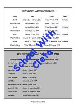 2017 Western Australian (WA) School Term Calendar / Planner