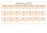 2017 calendar sheets