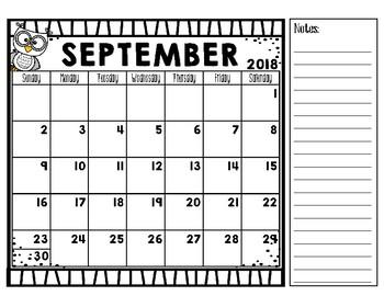 2018-19 Academic Calendar Freebie