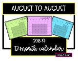 2018-19 Calendar Contemporary, Clean and Classic (13 months AUGUST-AUGUST)