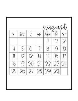 2018-19 Contemporary Calendar Large Numbers