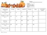 2018-19 Monthly Behavior Calendar Log