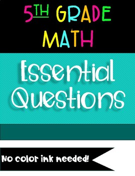 2018-19 NC 5th Grade Math Essential Questions